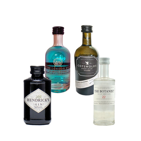 The Botanist, Hendrick´s Gin, Cotswolds Gin + The London No. 1 - 4 x Gin minis aus England