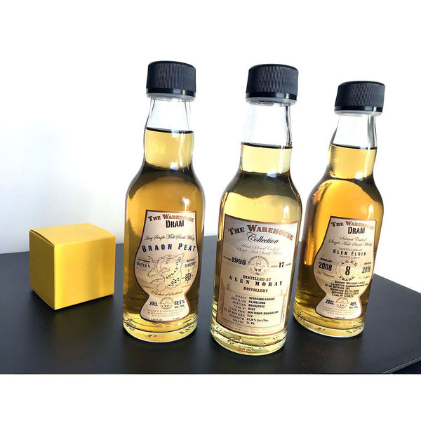 Whisky Tasting- Geschenk Set - 3 x 0,2l in Holzbox