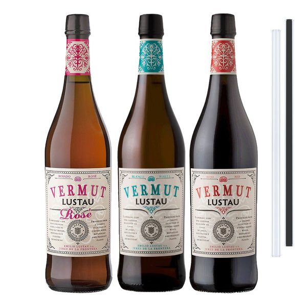 Lustau Vermut Red, Rose, White - 3erSet inkl. 2 Glastrinkhalme