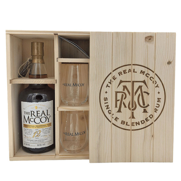 The Real McCoy Prohibition Tradition 12 Jahre - Limited Edition Holzbox mit 2 Gläsern